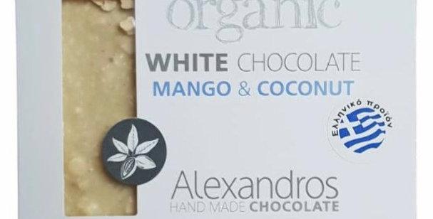 Bio weiße Schokolade mit Vanille aus Madagaskar, Kokos und Mango (90g)