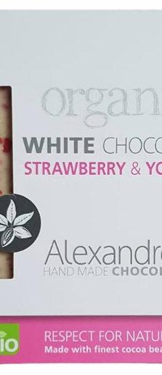 Bio weiße Schokolade mit Erdbeere und Joghurt (90g)