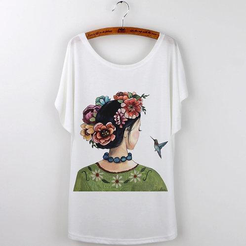 frida b tee~flowers & hummingbird