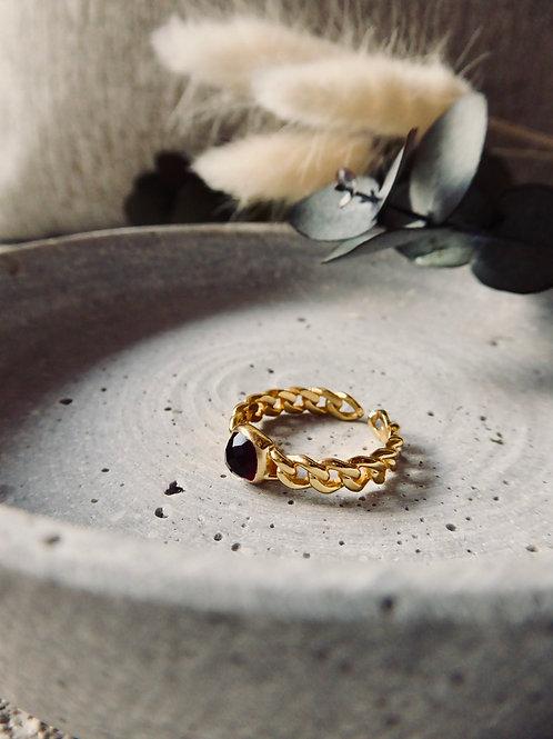 GOLDENER BASIC RING MIT BRAUNEM ACHAT EDELSTEIN (GRÖSSENVERSTELLBAR)