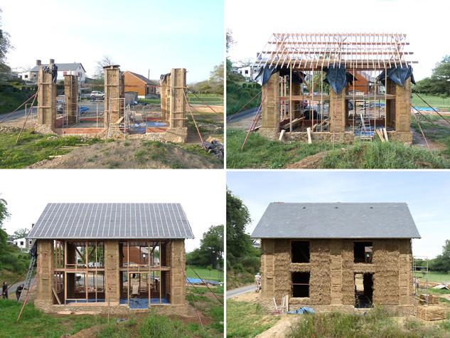 Six piliers en bauge, une charpente, une couverture et un remplissage paille - Chronologie de la construction.