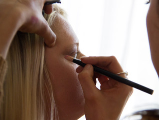 Chole Mae Jolliffe, make up artist, in action at Amy's wedding
