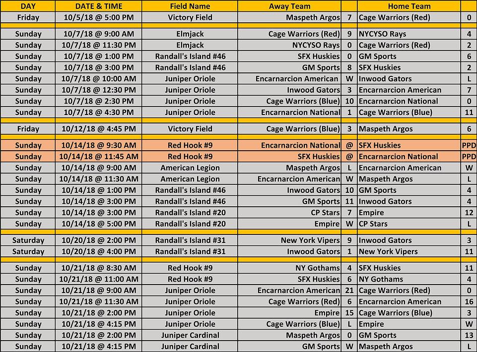 2018 Fall NYCE 15-16-17u Schedule 10 21