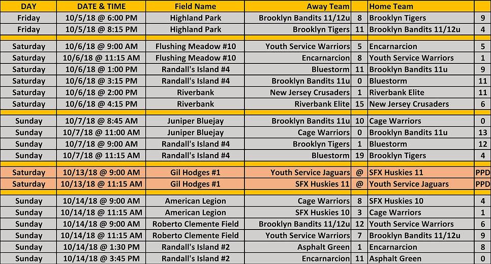 2018 Fall WYAL 11-12u Schedule 10 14 201