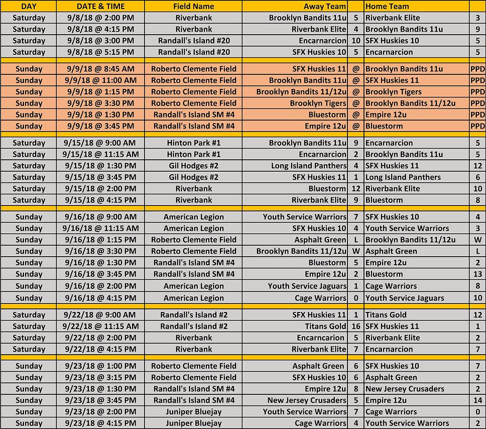 2018 Fall WYAL 11-12u Schedule 10 05 201