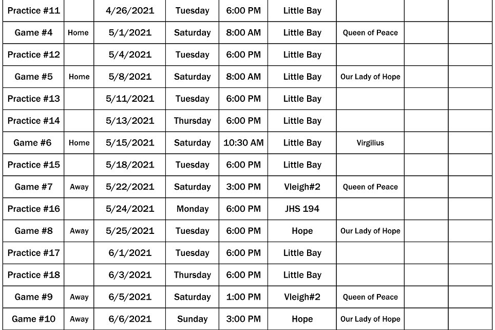 2021 St Lukes 6th Grade Schedule p2 0412