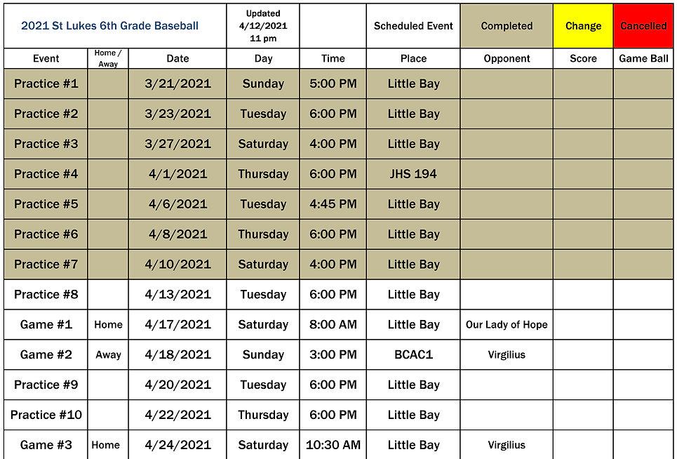 2021 St Lukes 6th Grade Schedule p1 0412