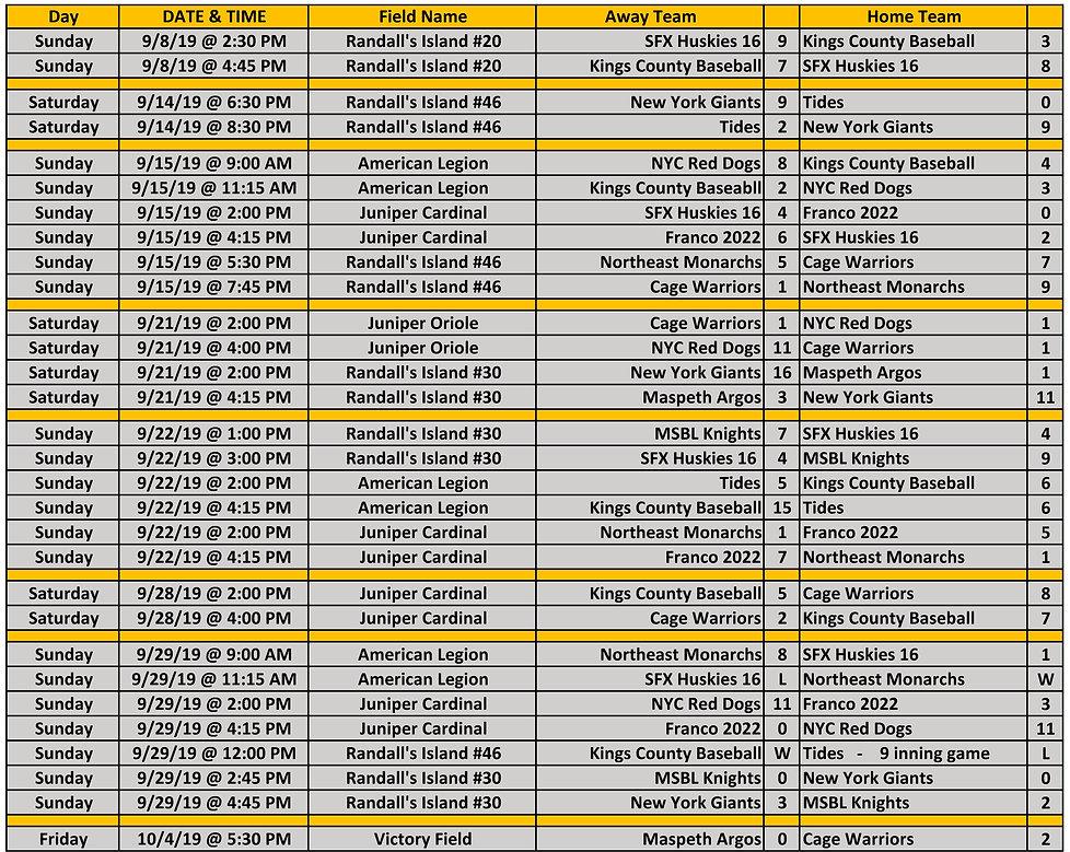 2019 Fall NYCE 15-16-17u Schedule 10.04.