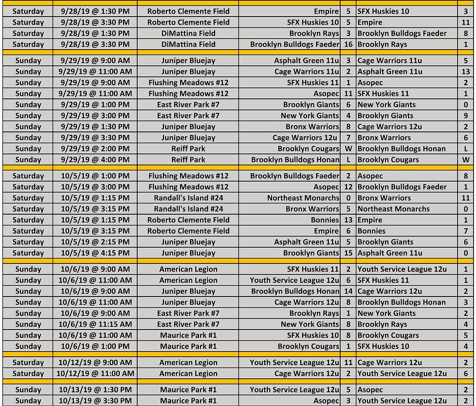 2019 Fall WYAL 11-12u Schedule p2 10.21.