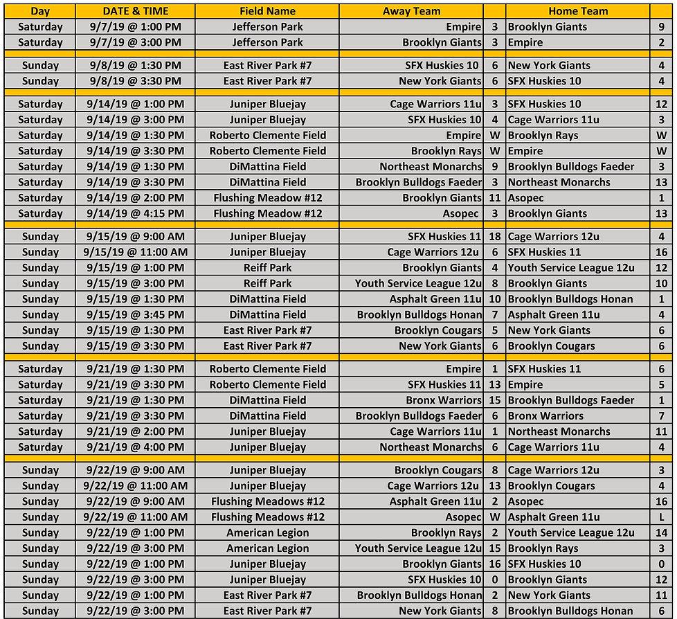 2019 Fall WYAL 11-12u Schedule 09.22.201