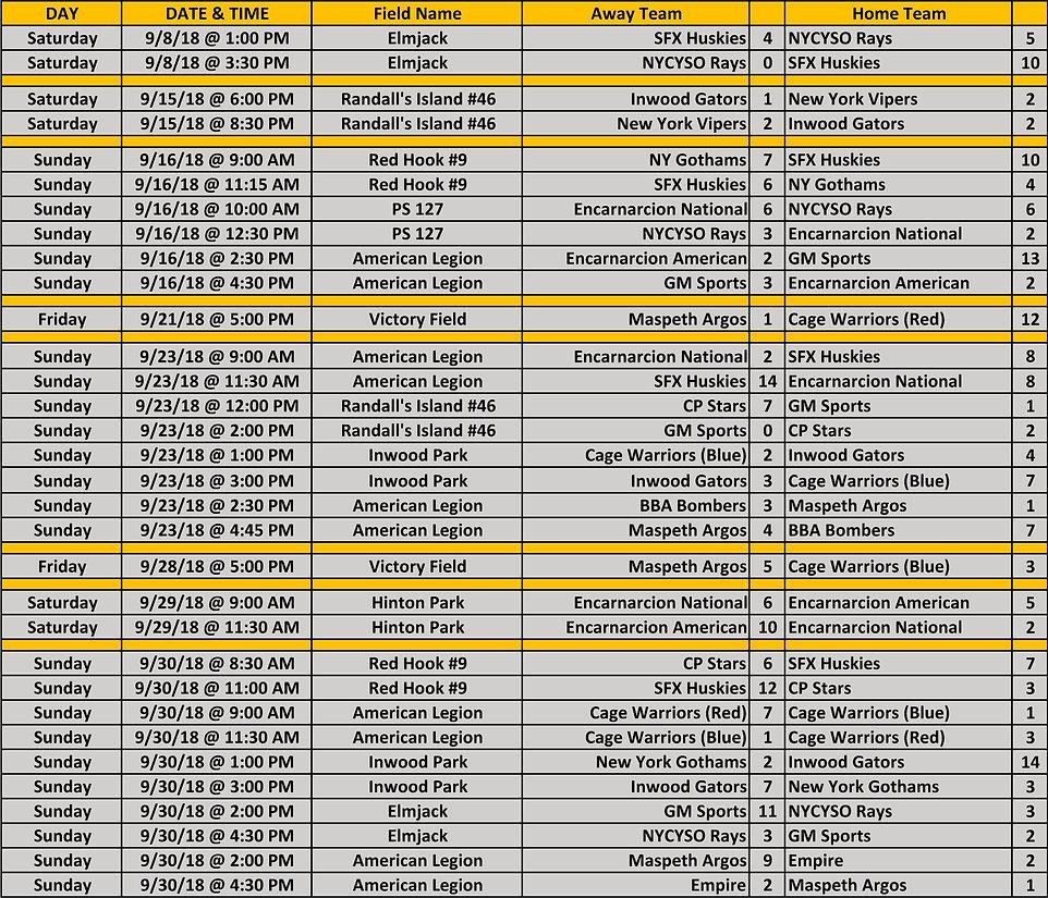 2018 Fall NYCE 15-16-17u Schedule 09 30