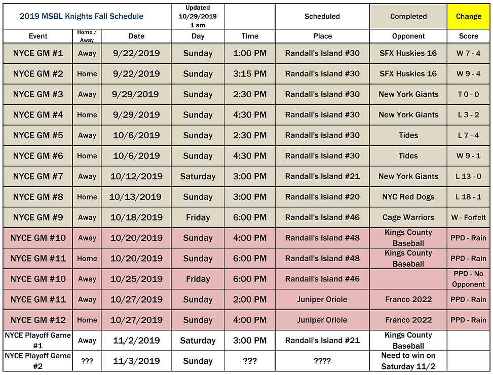 2019 MSBL Knights Fall Schedule 10 29 20