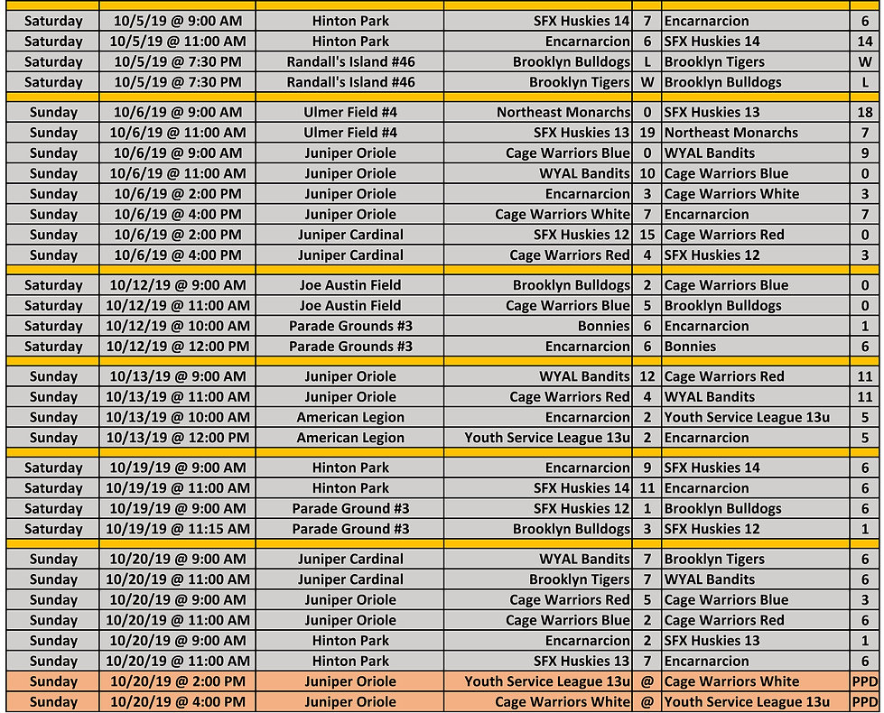 2019 Fall NYCE 13-14-15u Schedule P2 10.