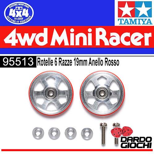 19MM Aluminum Ball-Race Rollers (6 Spoke) w/Plastic Rings (RED) ITEM 95513