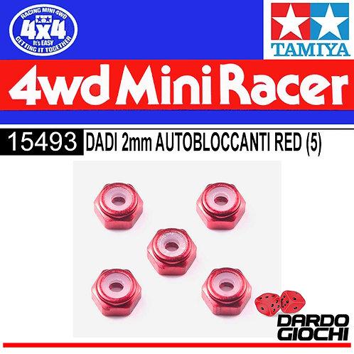 2mm Aluminum Lock Nut ( Red , 5pcs .) ITEM 15493