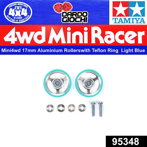 17mm Aluminium Rollers w/Plastic Rings (Light Blue)  ITEM 95348