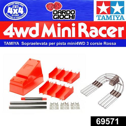 TAMIYA SOPRAELEVATA PER PISTA MINI 4WD 3 CORSIE ROSSA ITEM 69571
