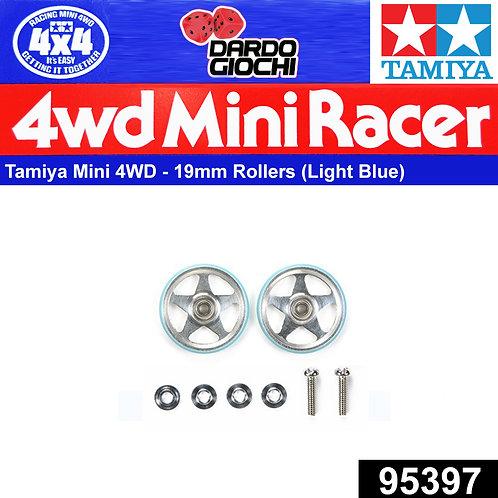 19mm Aluminum Rollers (5Spokes) w/Plastic Rings (Light Blue) ITEM 95397