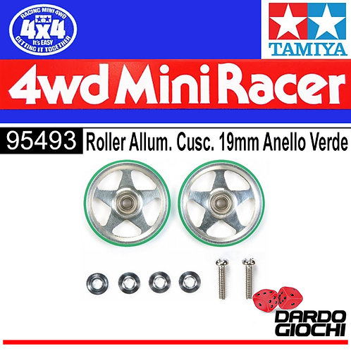 19mm Aluminium Rollers (5 Spokes) w/Plastic Rings (GREEN) ITEM 95493