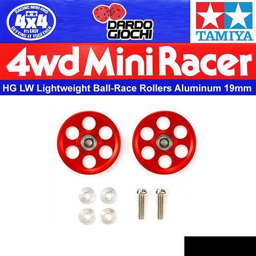 HG LIGHTWEIGHT 19mm ALUMINIUM BALL-RACE ROLLERS (RINGLESS/RED) ITEM 95404