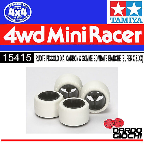 Small Dia Carbon Wheel & White Arched Tires (For Super X & XXChassis) ITEM 15415