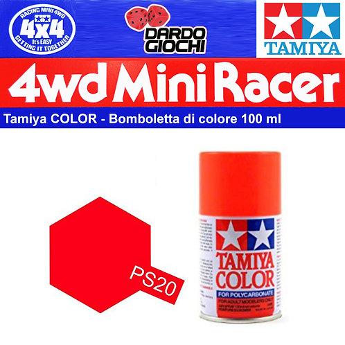 PS-20 Spray Tamiya Polycarbonate Fluorescent Red (100ml)