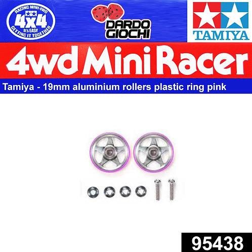 19mm Aluminum Rollers (5Spokes) w/Plastic Rings (Pink) ITEM 95438