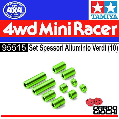 Aluminium Spacer Set (12/6.7/6/3/1.5mm ,2pcs. Each) (Green) ITEM 95515
