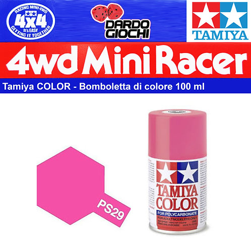 TAMIYA 100 ML PS-29 Rosa Fluorescente Vernice Spray in policarbonato