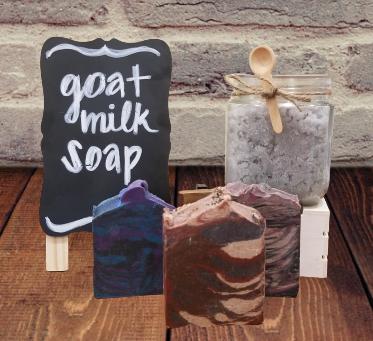 Men's goat milk soap and scrubs