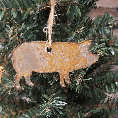 Rusty Metal Pig Christmas Ornament or stencil