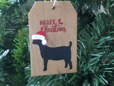 Goat Christmas ornaments for sale at Cotton Bean Goat Farm in Mt. Pleasant, NC
