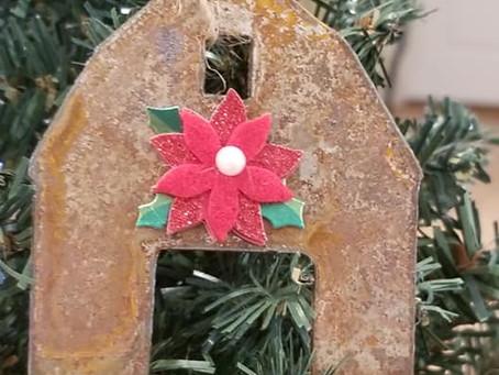 Cute rusty metal barn Christmas tree ornament