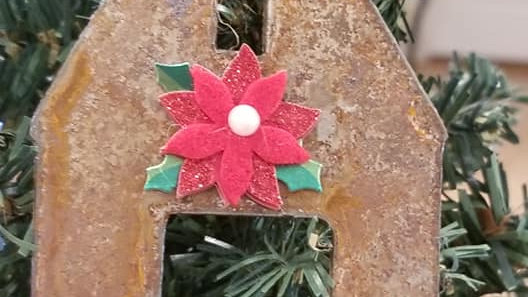 Rusty Metal Barn Christmas ornament