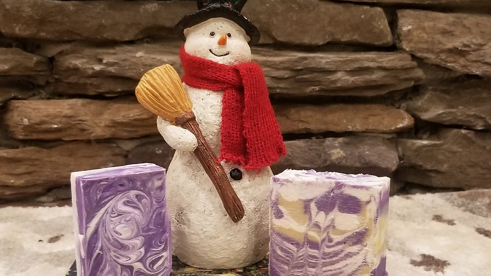 Penny's Sunkissed Plum goat milk soap is Snowman approved!