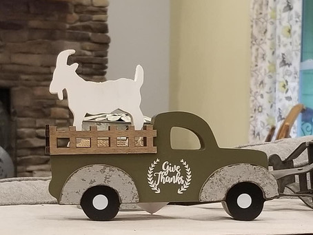 """I have one green """"Give Thanks"""" truck with goat for sale $20"""