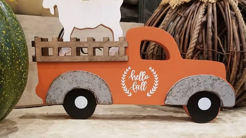 Wooden Fall or Thanksgiving truck with white wooden goat for sale