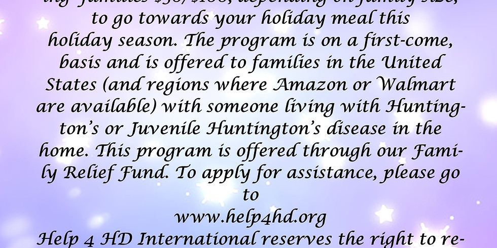 Help 4 the Holidays HD Family Relief Program