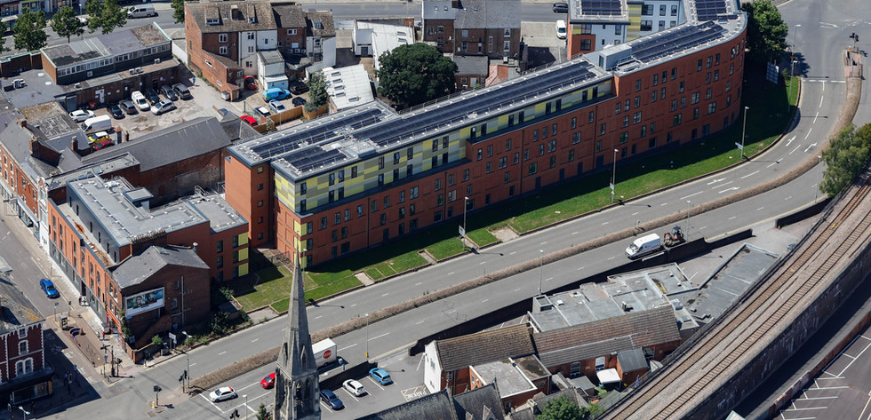Black Dog Way - Aerial view of Carpenter House and Walkinshaw Court