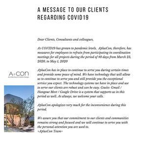 A message to our clients regarding COVID-19