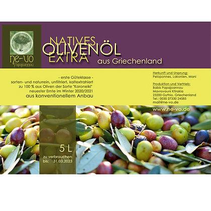 5 L Olivenöl extra nativ aus konventionellem Anbau,  bis 3 Kanister
