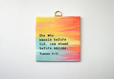 She Who Kneels Hanging Tile