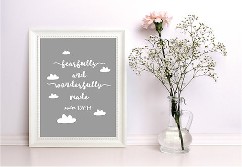 A4 Wonderfully Made Grey Print WS