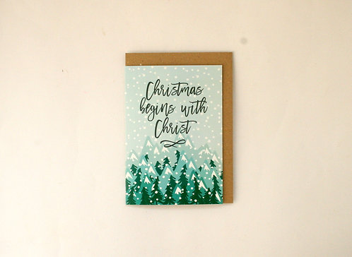 Mountains Christmas Greetings Card