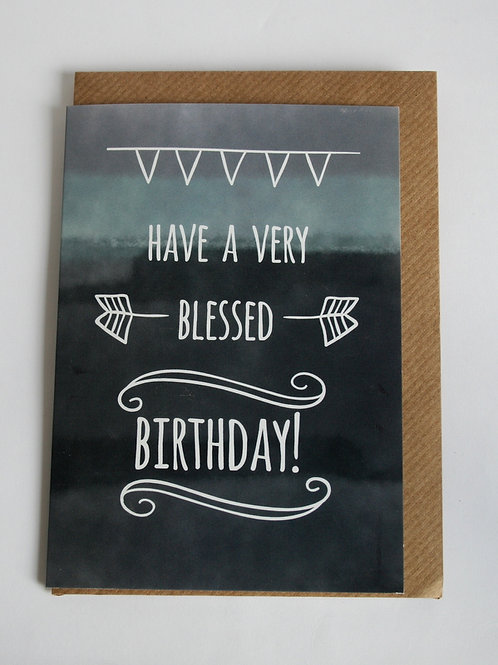 Blessed Birthday Chalk Greetings Card