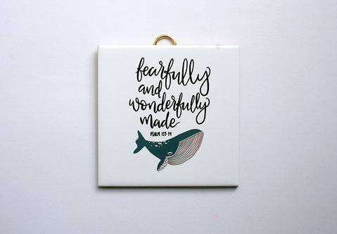 Wonderfully Made Whale Hanging Tile WS