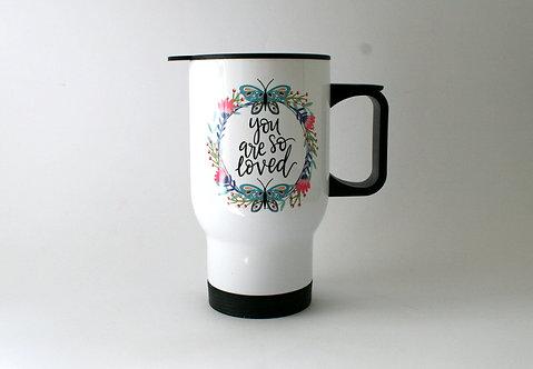 You Are Loved Folk Art Travel Mug