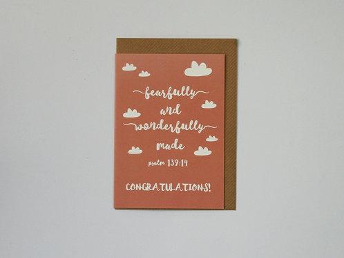 Wonderfully Made Blush  Greetings Card