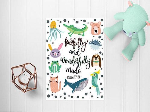 A4 Wonderfully Made Animal Print