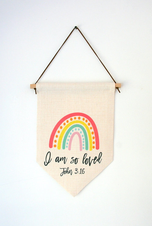 So Loved Rainbow Wall Hanging